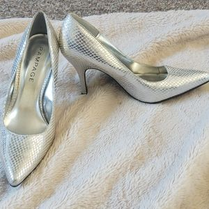 Rampage silver pointed heels